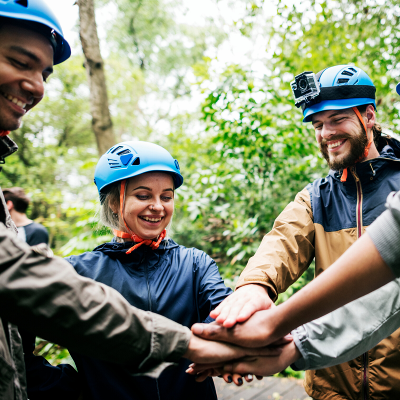 Young woman and and man at climbing residential